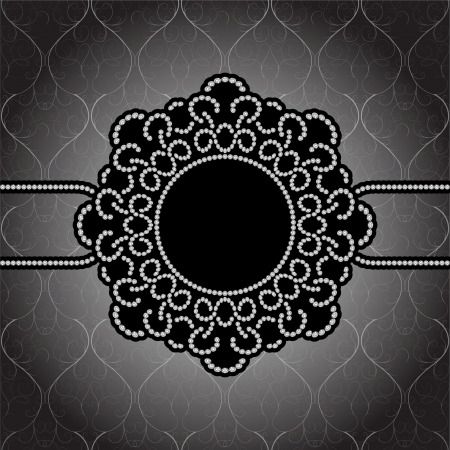 Black and white round jewelry frame, vintage background Vector