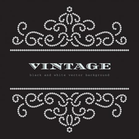 gemstones: Gestippelde wervelingen, sieraden patroon op zwarte achtergrond Stock Illustratie