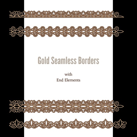 Gold lace ribbons, set of gold seamless borders with end elements Stock Vector - 19557140