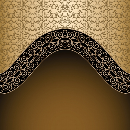Vintage background, gold frame template Vector