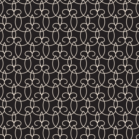 Seamless lace pattern on black, abstract lacy texture Vector