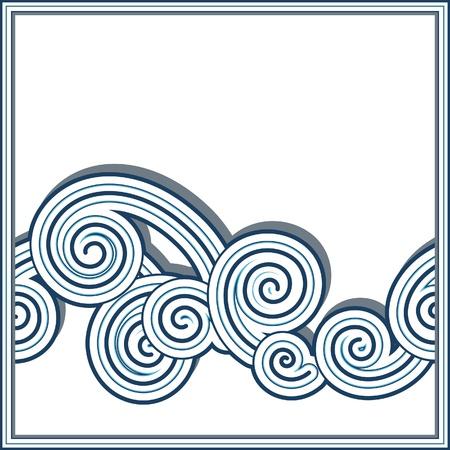 lineas onduladas: Horiontal frontera onda transparente aislado en blanco