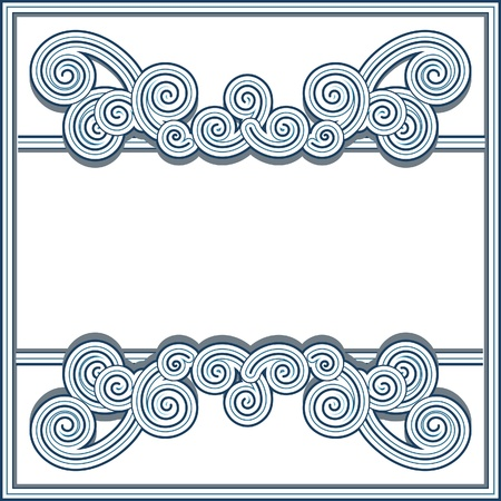 Ornamental frame in retro style with decorative wavy swirls Vector