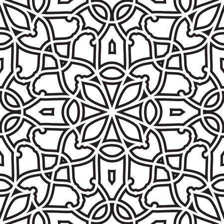 대칭: 추상적 인 기하학적 배경, 흑인과 백인 원활한 패턴 일러스트