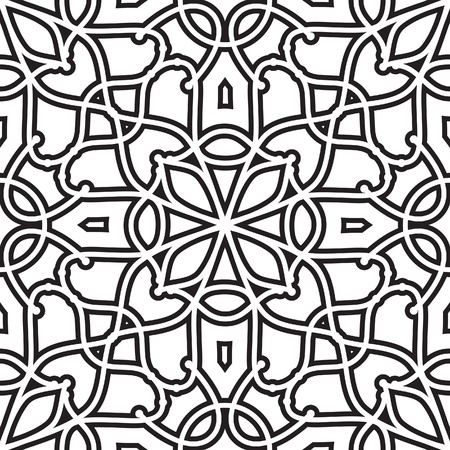 tracery: Abstract geometric background, black and white seamless pattern