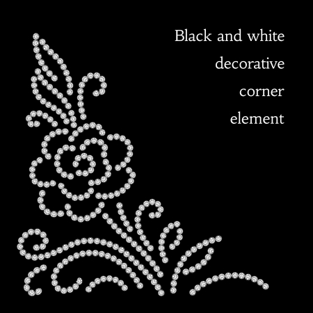 Abstract flower, diamond pattern on black Vector