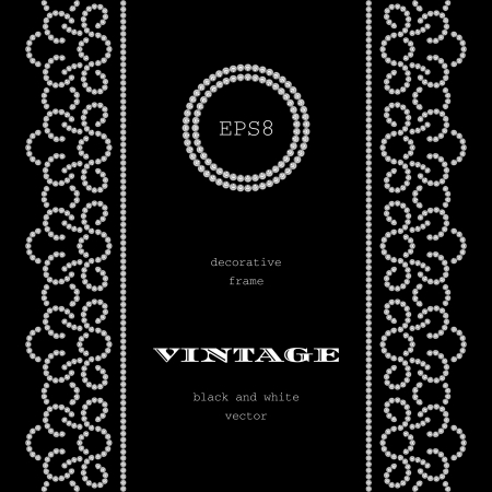 Diamond swirls on black, vintage background with seamless borders Vector