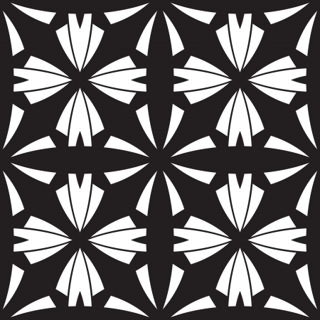 stencil art: Abstract black and white tiles, geometric seamless pattern