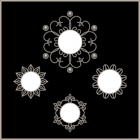 joyas de plata: Marcos redondos, conjunto de copos de nieve, vi�etas ornamentales de plata Vectores