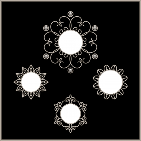 silver jewelry: Round frames, set of snowflakes, silver ornamental vignettes