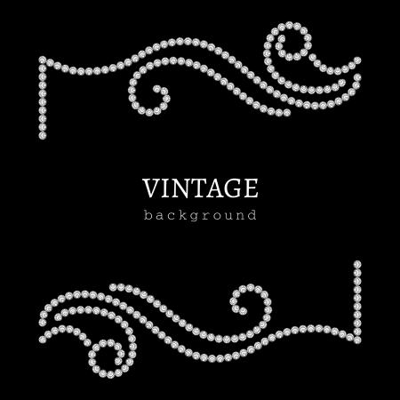 diamond jewelry: Gioielli cornice su fondo nero, elemento decorativo per la progettazione