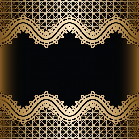Vintage gold background, seamless lace borders on black Vector