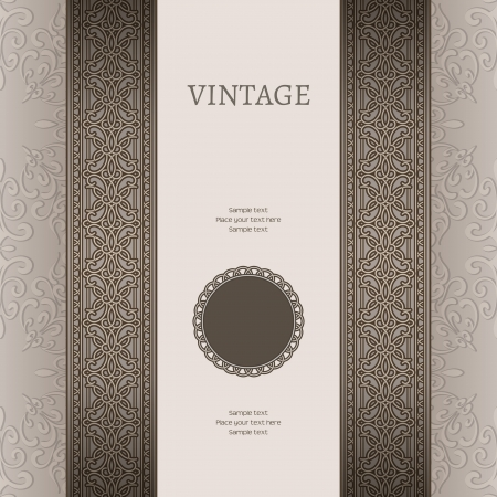 Vintage background with seamless border ornament