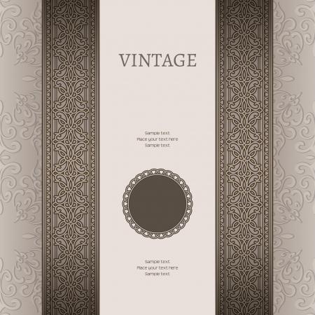 copertina libro antico: Vintage sfondo con ornamento senza soluzione di continuit� di frontiera