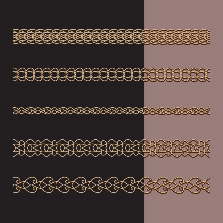 Set of borders, gold jewelry chains on black Vector