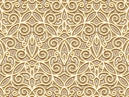 Abstract floral swirls, gold seamless pattern Vector