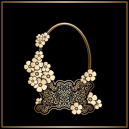 Vintage gold basket with flowers, decorative frame Vector