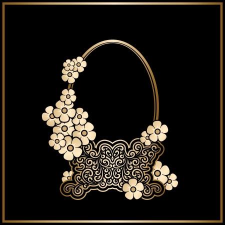 antique vase: Vintage gold basket with flowers, decorative frame
