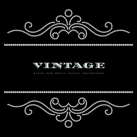 Black and white vintage jewelry background Illustration