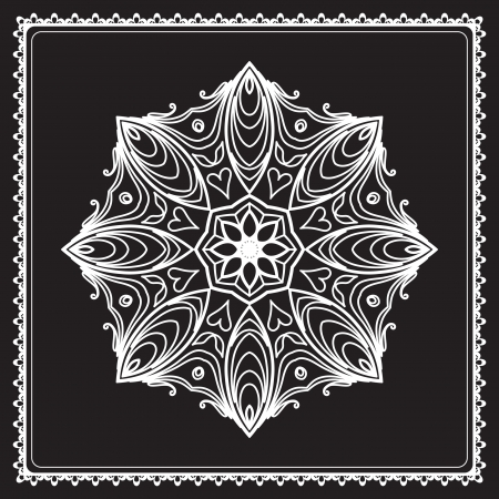 White lace, round snowflake pattern isolated on black Vector
