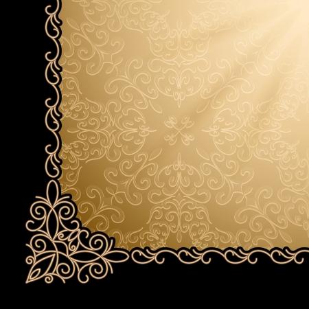 bordure de page: Fond d'or Vintage, �l�ment de design d'angle