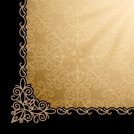 page decoration: Vintage gold background, corner design element