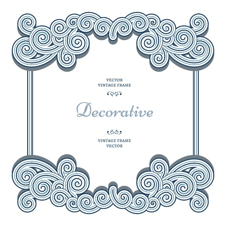 Ornamental frame with decorative wavy swirls on white Vector