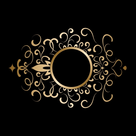 ornament  jewellery: Vintage gold frame on black