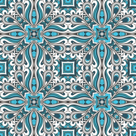 Abstract seamless pattern, blue fabric ornament Vector