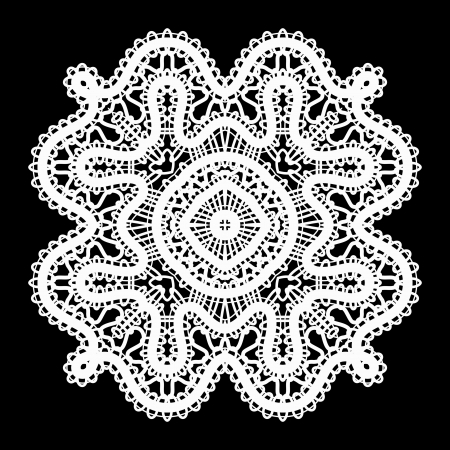 Realistic white lace doily on black Vector