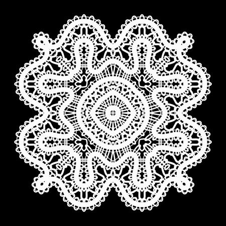 tatting: Realistic white lace doily on black