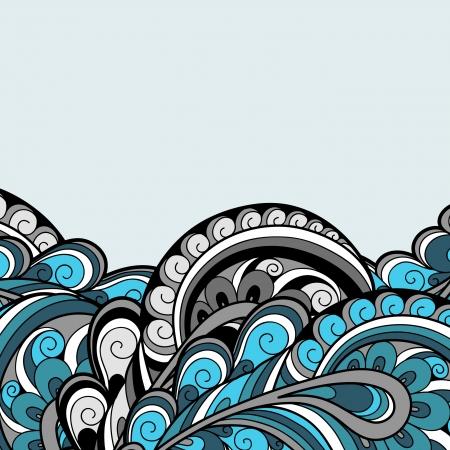 paisley: Abstrakcyjne tło, niebieski wzór pióro