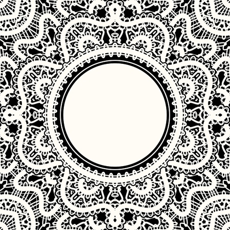 black textured background: Realistic white lace, lacy frame on black