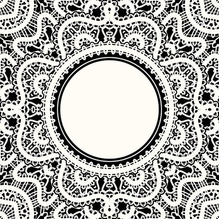 Realistische witte kant, kanten frame op zwart