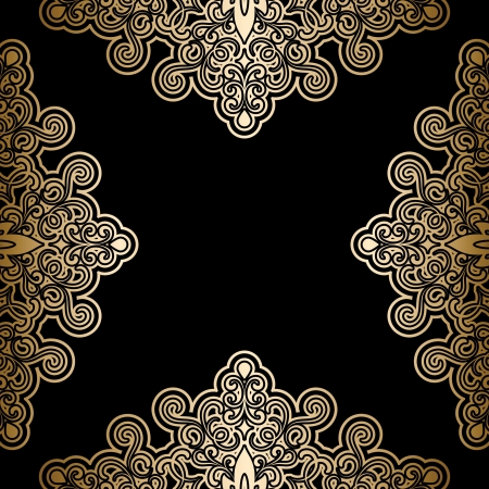 Vintage gold background, antique frame on black Stock Vector - 20708245