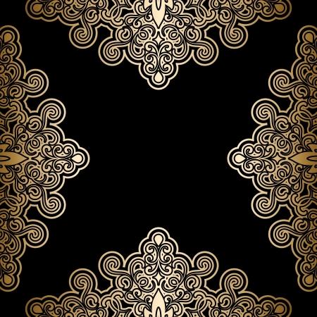 gold swirls: Vintage gold background, antique frame on black