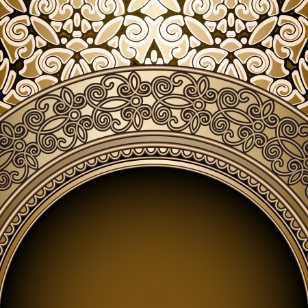 Vintage background, antique gold frame Vector