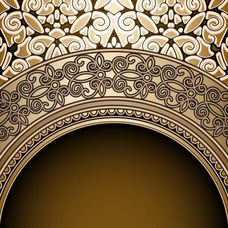 Vintage background, antique gold frame Illustration