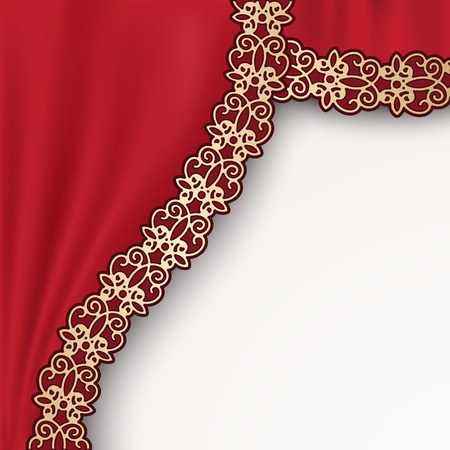 Red theater curtain on white Stock Vector - 20708251