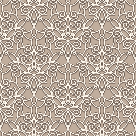 arabesque: Abstract seamless beige lace pattern Illustration