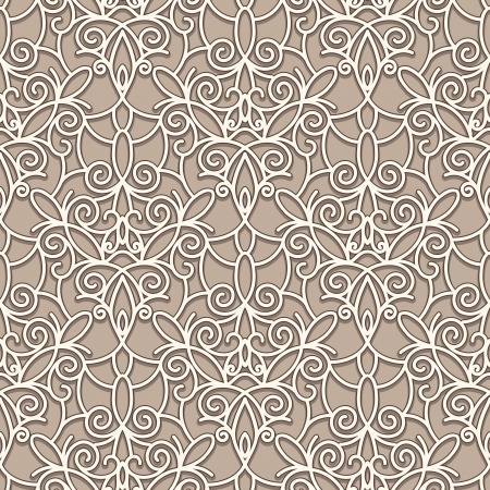 arabesque wallpaper: Astratto modello senza saldatura pizzo beige