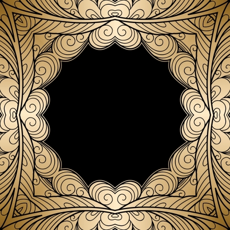 Gold square ornamental frame Stock Vector - 20708255