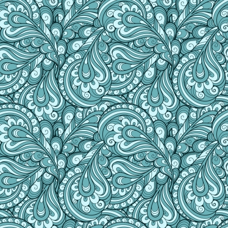 Abstract blue feathers seamless pattern Vector