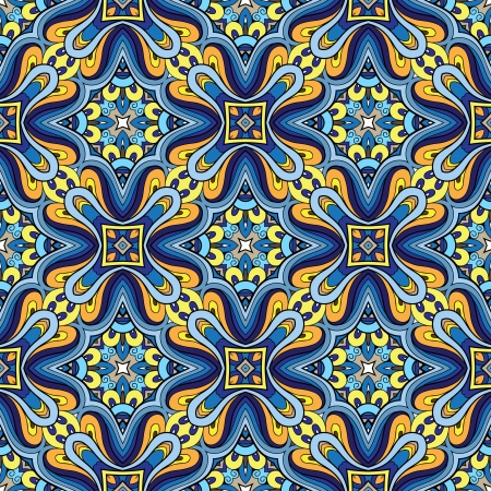 Abstract seamless pattern, blue fabric ornament Stock Vector - 21041887