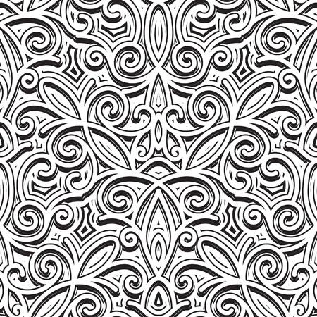 arabesque wallpaper: Ornamento d'epoca, in bianco e nero senza soluzione di continuit� Vettoriali
