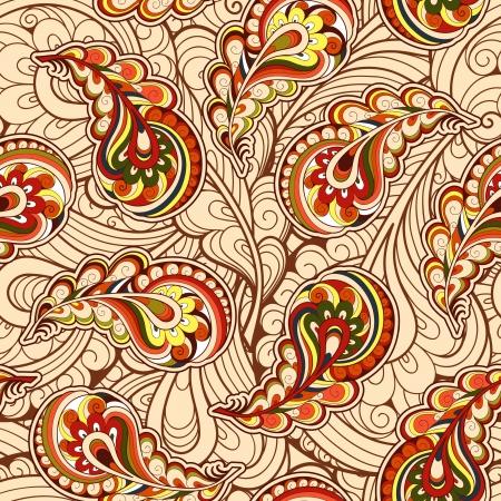 秋の紅葉、ペーズリーのシームレスなパターン