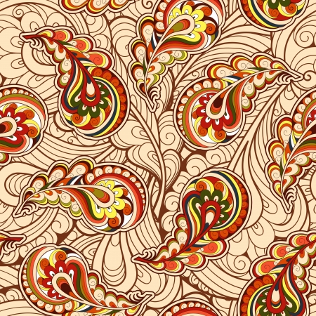 Autumn leaves, paisley seamless pattern Vector