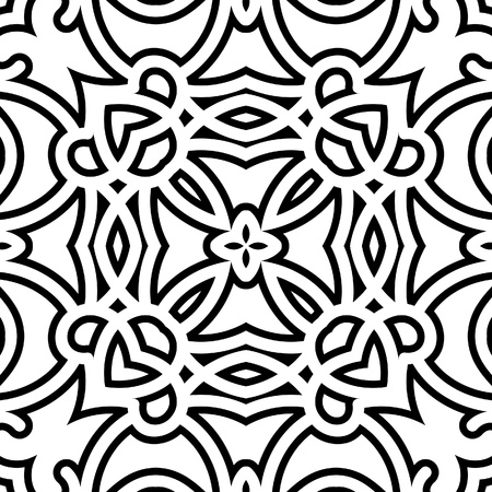 Black and white lattice, geometric seamless pattern Vector
