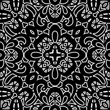 Vintage ornament, black and white seamless pattern Vector