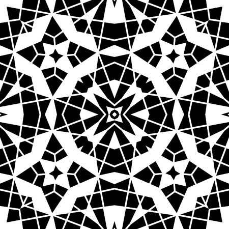 Black and white lace, geometric seamless pattern Vector